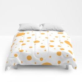 Mixed Polka Dots - Pastel Orange on White Comforters