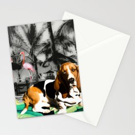 Tropical Basset Stationery Cards