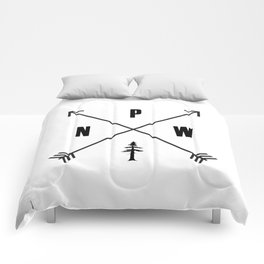 PNW Pacific Northwest Compass - Black and White Forest Comforters