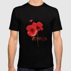FLOWERS - Poppy heaven Black MEDIUM Mens Fitted Tee