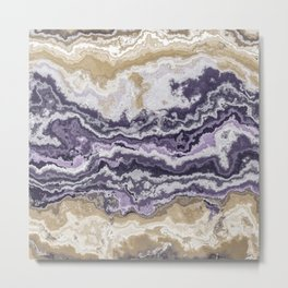Purple and ochre marble texture Metal Print