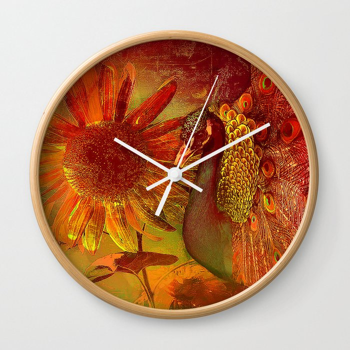 :: Sunflower and Ruebin the Royal Peacock ::  by Ganech Joe and Gale Storm Wall Clock