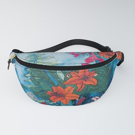 Blue Jungle of Orange Lily and Pink Trumpet Vine Floral Fanny Pack