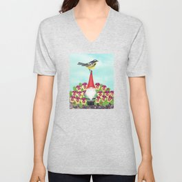 gnome with magnolia warbler and pansies Unisex V-Neck