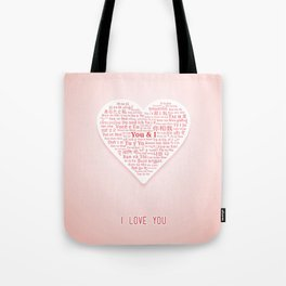 "The phrases ""You and I"" in shape of heart in different languages of the World Tote Bag"