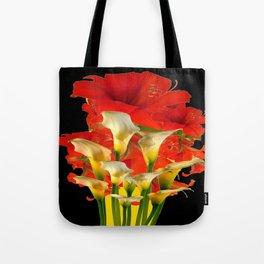RED FLORALS & YELLOW CALLA LILIES BLACK ART Tote Bag