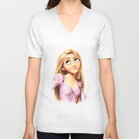 rapunzel V-neck T-shirts featuring Rapunzel by Patricia Teo