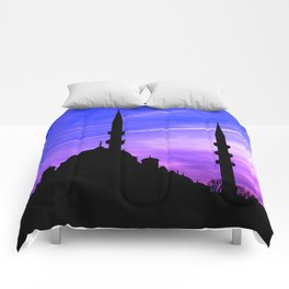 mosque and sunset Comforters