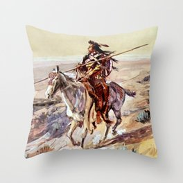 """""""Indian With Spear """" by Charles M Russell Throw Pillow"""