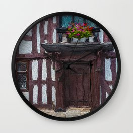 Flowers Over Doorway of Half-Timbered House Wall Clock