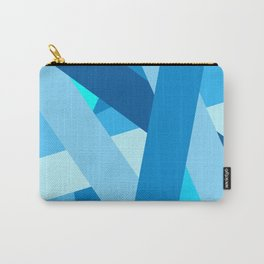 Retro Blue Mid-Century Minimalist Geometric Line Abstract Art Carry-All Pouch