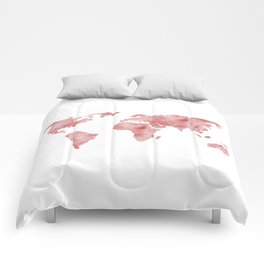 World Map Light Red Watercolor Comforters