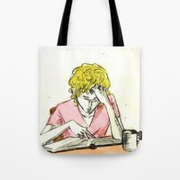 les mis Tote Bags featuring Enjolras studying Les Mis by Pruoviare