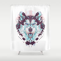 husky Shower Curtains featuring husky by yoaz