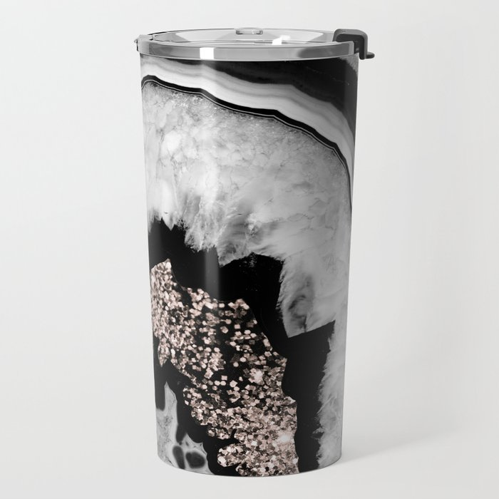 Gray Black White Agate with Rose Gold Glitter #1 #gem #decor #art #society6 Travel Mug