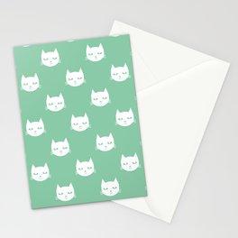Cat minimal illustration pet cats head drawing digital pattern mint and white nursery art Stationery Cards