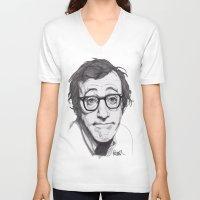 woody allen V-neck T-shirts featuring Woody Allen by Paul Nelson-Esch Art