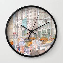 Reflection in the New York City windows II Wall Clock