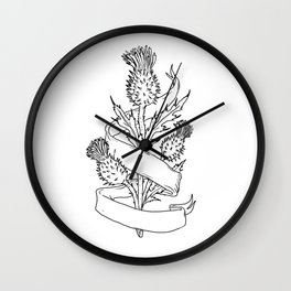 Scottish Thistle With Ribbon Drawing Black and White Wall Clock