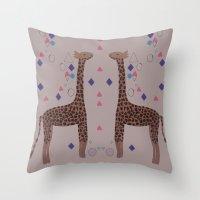 giraffes Throw Pillows featuring Giraffes by Louise Elizabeth