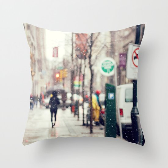 Snowing in the City Throw Pillow