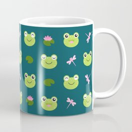 Frogs, Dragonflies and Lilypads on Teal Coffee Mug