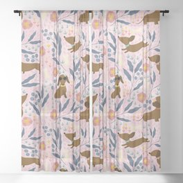 Floral Sausage Dogs Sheer Curtain