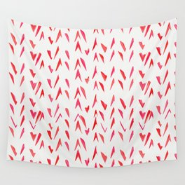 Geometrical pink red watercolor abstract hand painted brushstrokes Wall Tapestry
