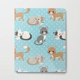 Cute Cat Pattern - Light Blue Polka Dots Metal Print