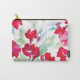 Red Flower in Watercolor Pattern Carry-All Pouch