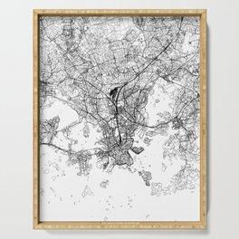 Helsinki White Map Serving Tray
