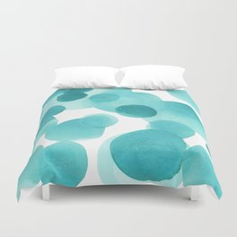Aqua Bubbles: Abstract turquoise watercolor painting Duvet Cover