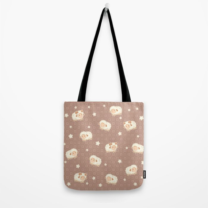 Cute Little Sheep on Brown Tote Bag