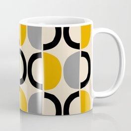 Mid Century Modern Half Circle Pattern 547 Beige Black Gray and Yellow Coffee Mug