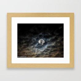 Full Moon through the Clouds Framed Art Print