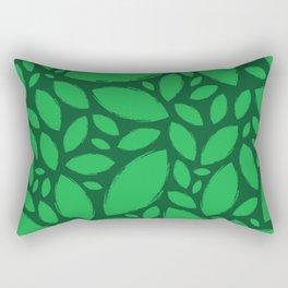 Painted Tree Leaves V2 - Green Rectangular Pillow