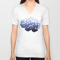 brain V-neck T-shirts featuring Brain by Temi Alli