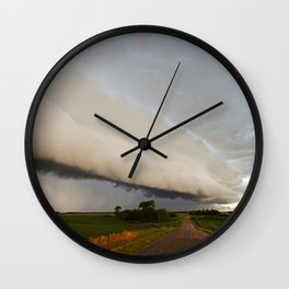 Shelf Cloud Over Country Road 2 Wall Clock