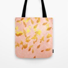 Autumn-world 2 - gold glitter leaves on pink backround Tote Bag