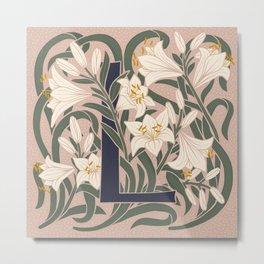 Floral Monogram Letter L Metal Print