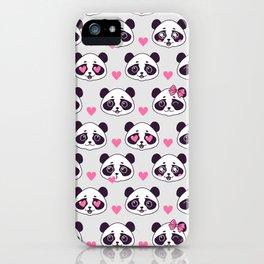 Cute pattern with panda. iPhone Case