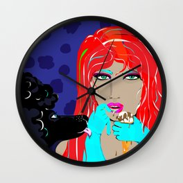"""Black Poodle"" Paulette Lust's Original, Contemporary, Whimsical, Colorful Art  Wall Clock"