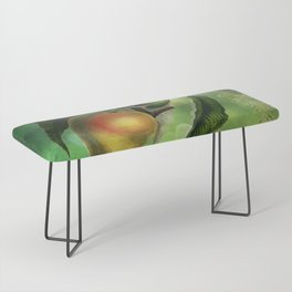 Bombay Mangos with Butterfly, Vintage Botanical Illustration Collage Art Bench