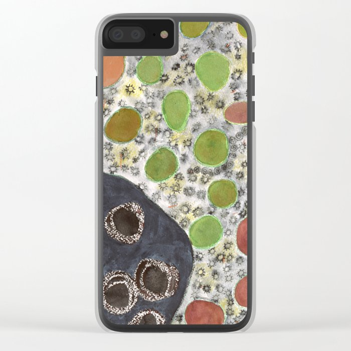 Playful Yin and Yang Pattern Clear iPhone Case