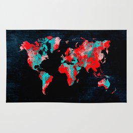 world map 82 red blue Rug
