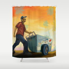 Paletero On the Move in the LA Sunset Shower Curtain