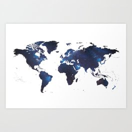 Space Milkyway World Map Art Print