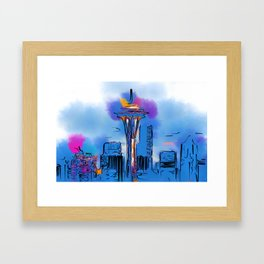 The Space Needle In Soft Abstract Framed Art Print