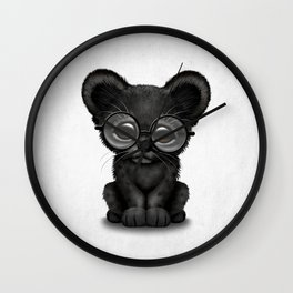 Cute Baby Black Panther Cub Wearing Glasses Wall Clock