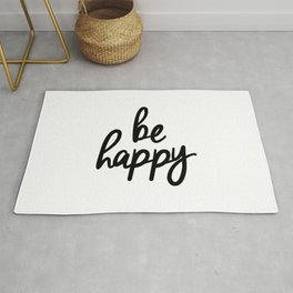 Be Happy black and white monochrome typography poster design bedroom wall art home decor Rug